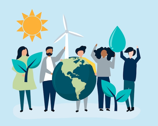 Люди с концепцией экологической устойчивости