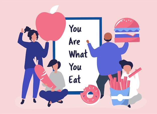 Люди с едой иконы иллюстрации