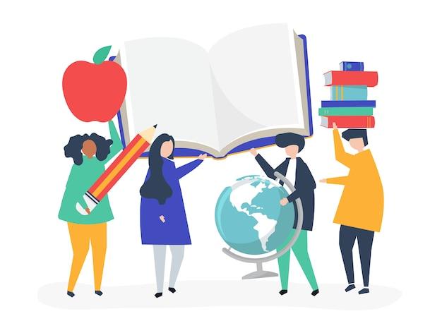 教育関連のアイコンを持つ人々
