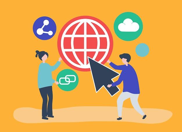 Символы и иллюстрация концепции глобальной коммуникации