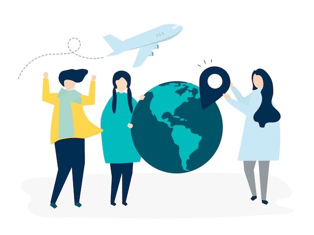 Люди, несущие различные значки, связанные с путешествиями