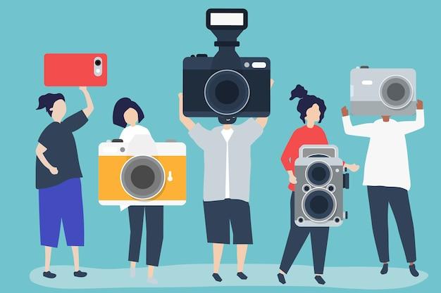 カメラ付きカメラマンのキャラクターイラスト