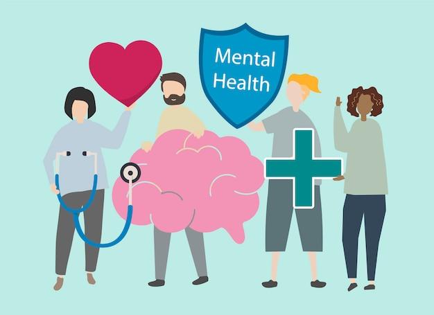 精神的健康と障害のイラスト