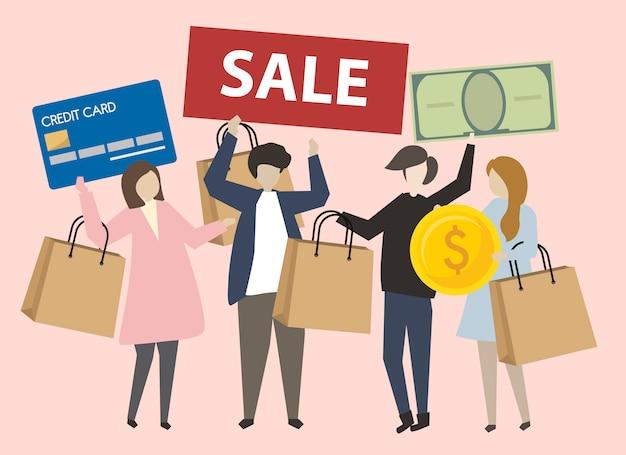 ショッピングアイコンイラスト付きの人々