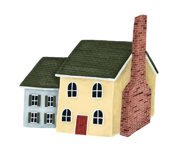 Желто-синий домик с зеленой крышей