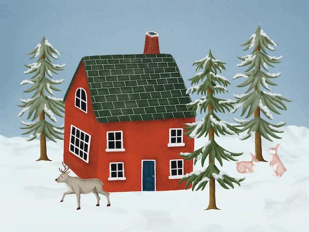 手描きの赤い家
