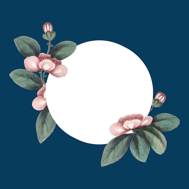 花の空白の円のフレームベクトルをフィーチャーした中国の絵