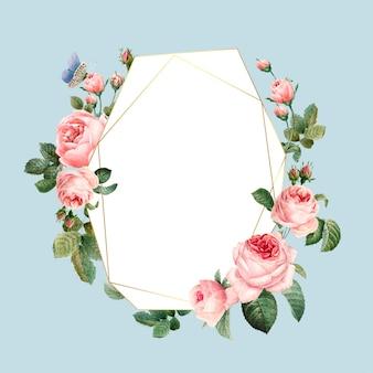 青の背景ベクトルに手描きの空のピンクのバラのフレーム