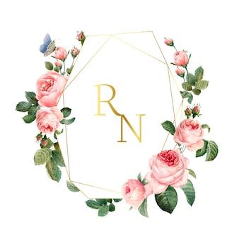 Свадебный пригласительный билет украшен розами вектор