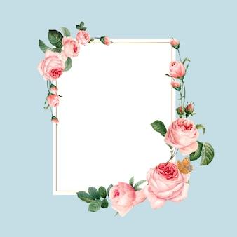 青い背景ベクトルの空白の長方形のピンクのバラのフレーム