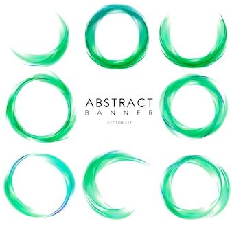 緑で抽象的なバナーを設定