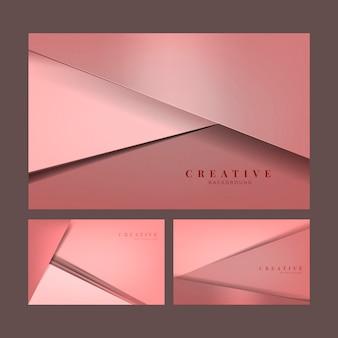 Набор абстрактных творческих фоновых конструкций в розовом