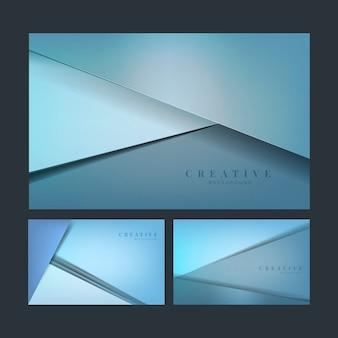 Набор абстрактных творческих фоновых конструкций в синем