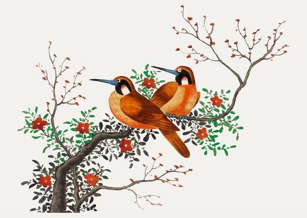 Китайская живопись с изображением двух птиц