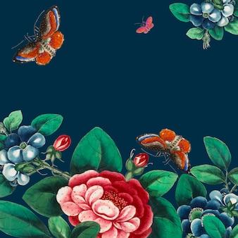 Китайская живопись с изображением цветов и бабочек