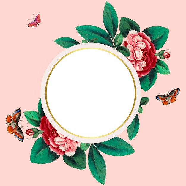 Китайская живопись с изображением цветов пустой круг кадр вектор