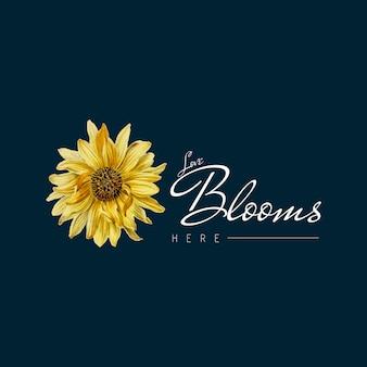 ひまわりの花のバッジ