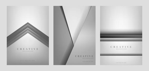 Набор абстрактных творческих фоновых конструкций в светло-сером