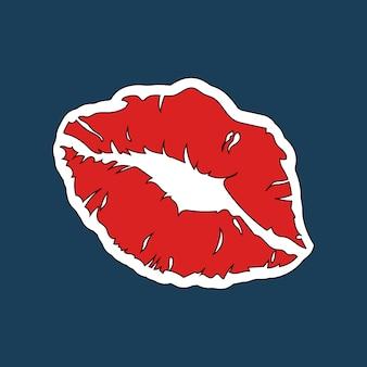赤い口紅プリントステッカーベクトル