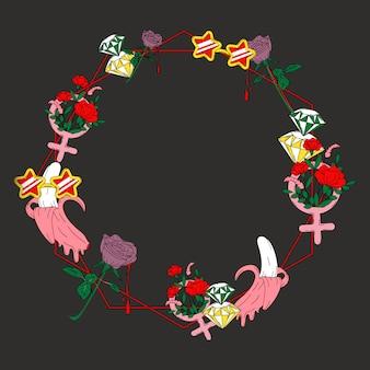 女の子、花、背景、ベクトル