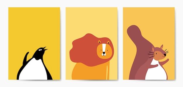 漫画スタイルのベクトルでかわいい動物のコレクション