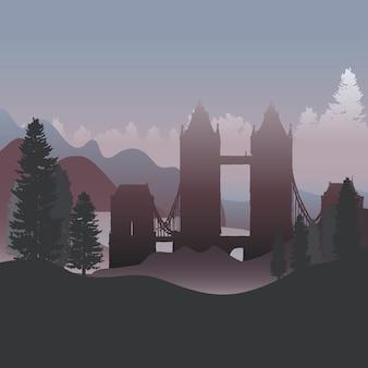 森林ベクトルのタワーブリッジ
