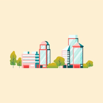 Вектор высокотехнологичных офисных зданий