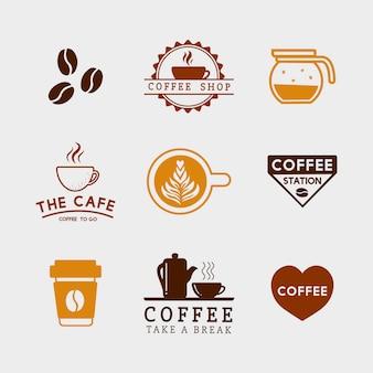 コーヒーの要素とコーヒーアクセサリーのベクトルのセット