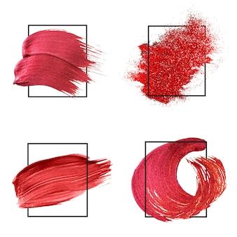 赤い筆のストロークコレクション