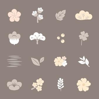 カラフルな花がセット