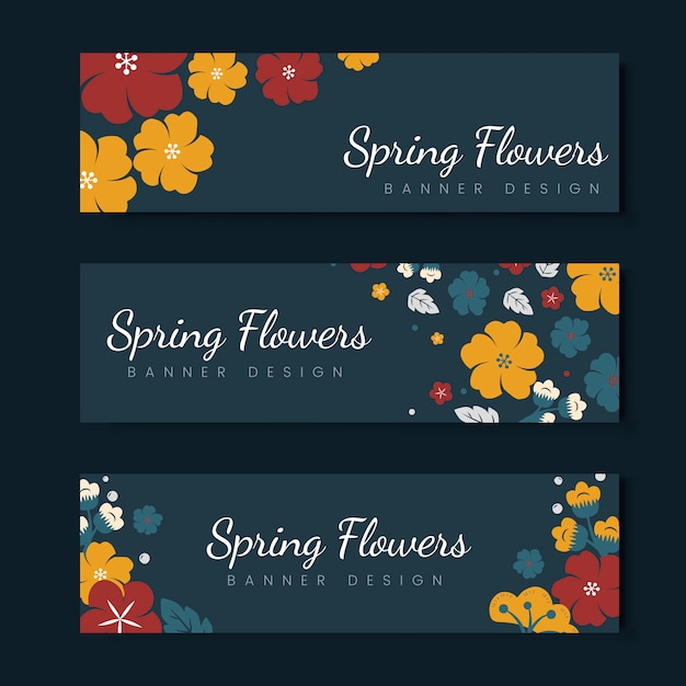 カラフルな花のカードのテンプレートセット