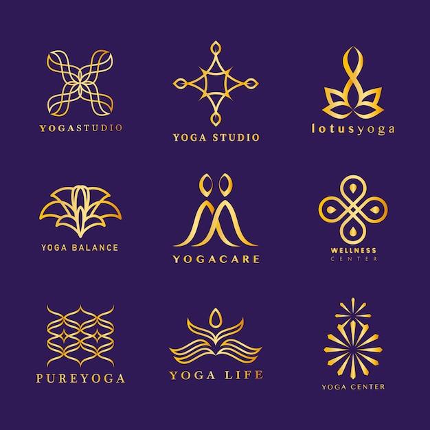 Набор векторных логотипов йоги
