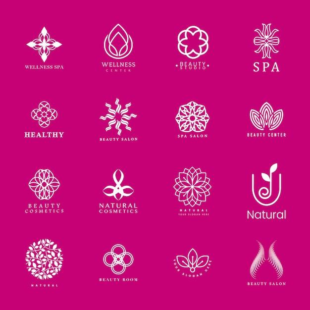 Набор спа и красоты логотип вектор