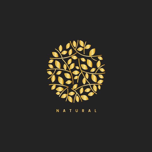 自然の葉ブランディングロゴのイラスト