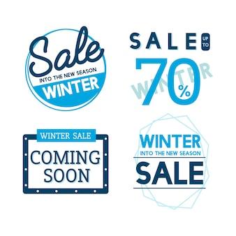Набор зимней распродажи бейджей векторов