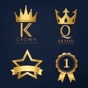 Набор золотых логотипов векторов
