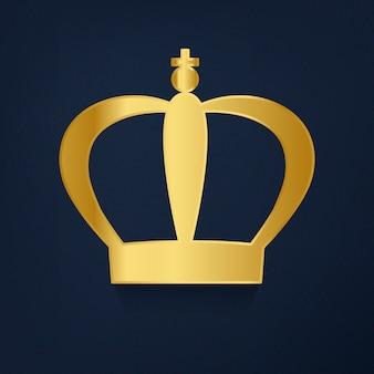 青い背景のベクトルに黄金の王冠