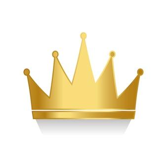白い背景のベクトルに黄金の王冠