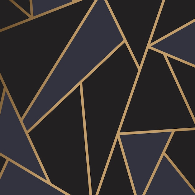 黒と金のモダンモザイク壁紙