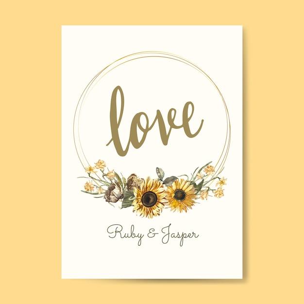 花の愛カードモックアップベクトル