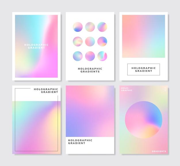 Красочный голографический градиент фона дизайн набор
