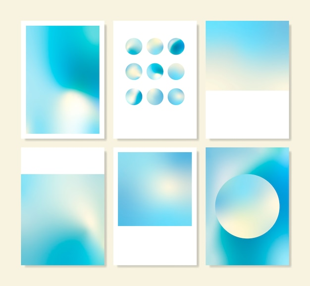 ブルーホログラフィックグラデーションの背景デザインセット