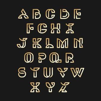 ゴールデンレトロアルファベットベクトルセット