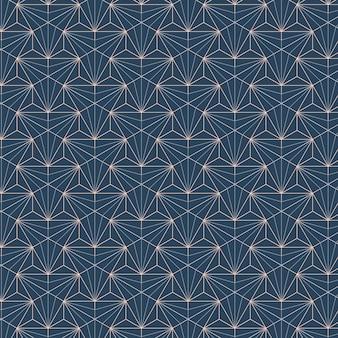 青色の背景に設定された白い幾何学的なシームレスパターン