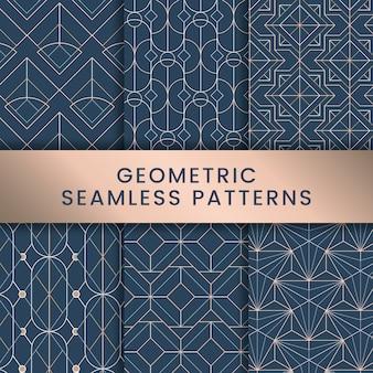 Белые геометрические бесшовные модели на синем фоне