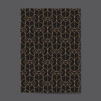 黒いカードにゴールデン幾何学模様のシームレスパターン
