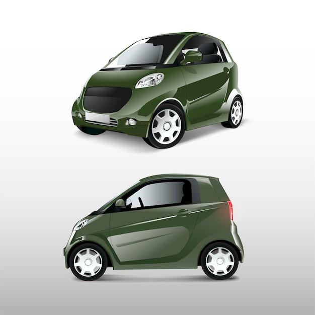 Зеленый компактный гибридный автомобиль вектор