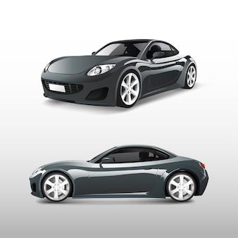 Серый спортивный автомобиль на белом векторе