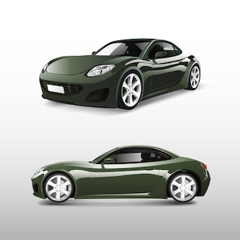 Зеленый спортивный автомобиль на белом векторе