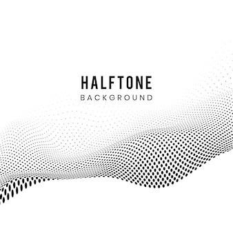 白い背景のベクトルに黒い波打つハーフトーン